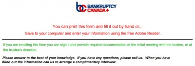 Records and documents required to file bankruptcy