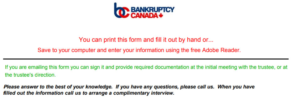 Records and documents required to file bankruptcy.