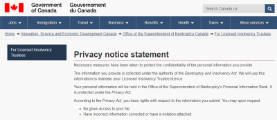 Canadian bankruptcy privacy laws